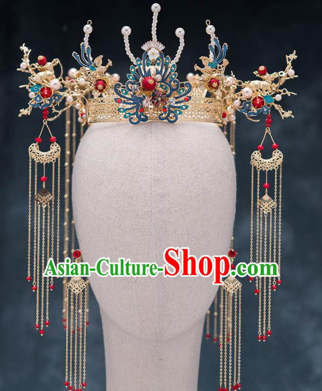Chinese Ancient Bride Cloisonne Phoenix Coronet Traditional Wedding Hair Accessories Hanfu Hairpins for Women