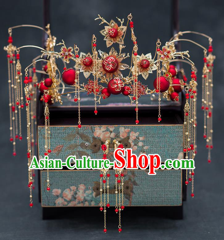 Chinese Ancient Bride Wedding Hairpins Traditional Red Beads Phoenix Coronet Hair Accessories for Women