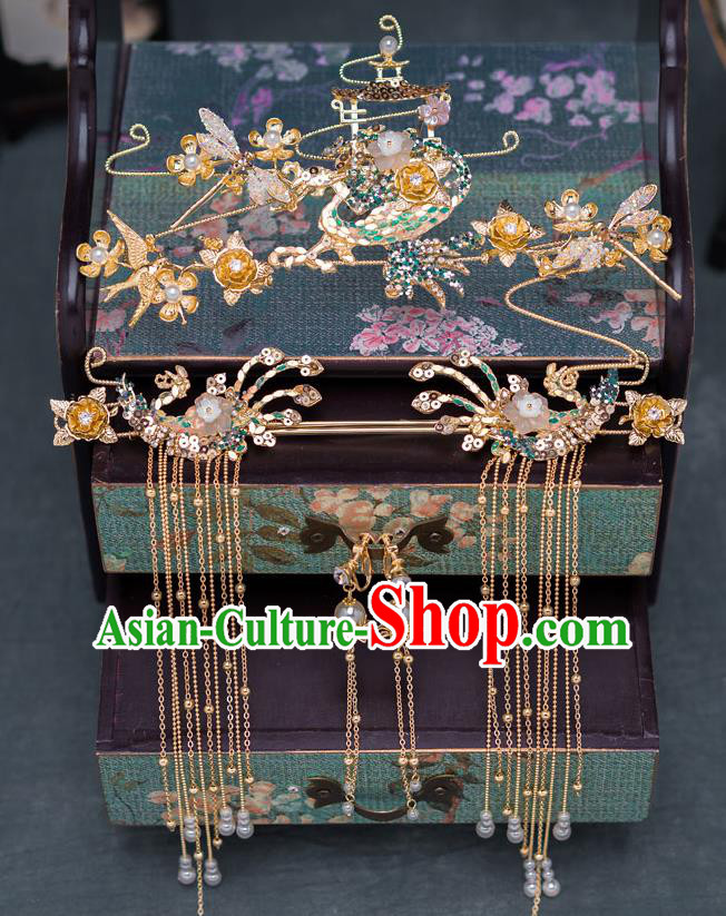 Chinese Ancient Bride Wedding Phoenix Coronet Traditional Palace Hair Accessories for Women