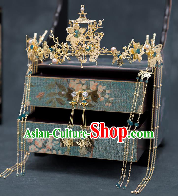 Chinese Ancient Bride Wedding Hair Clasp Traditional Palace Hair Accessories for Women
