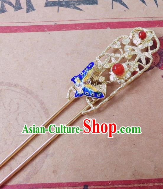 Chinese Ancient Queen Hair Accessories Traditional Hanfu Blueing Butterfly Hairpins for Women