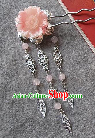 Chinese Ancient Hair Accessories Pink Flower Hairpins Traditional Hanfu Palace Hair Clip for Women