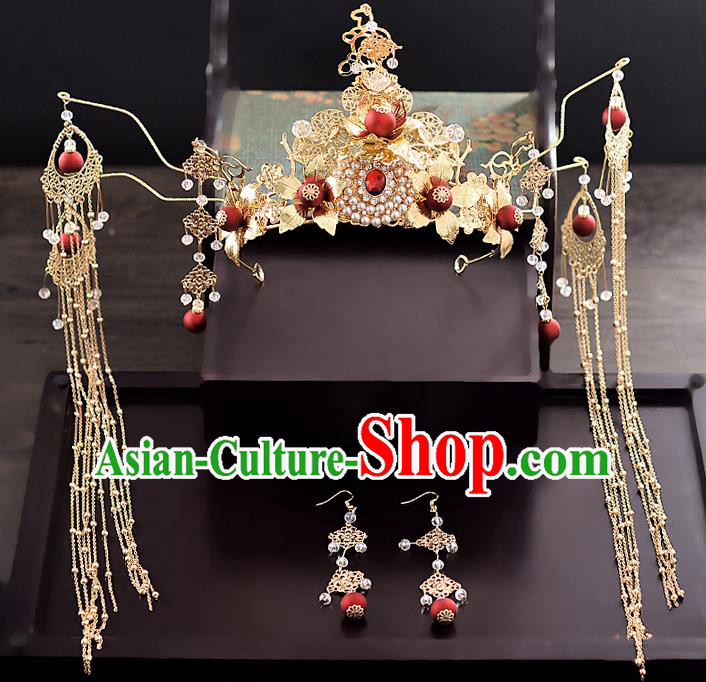 Chinese Ancient Hair Accessories Phoenix Coronet Tassel Hairpins Traditional Hanfu Palace Hair Clip for Women