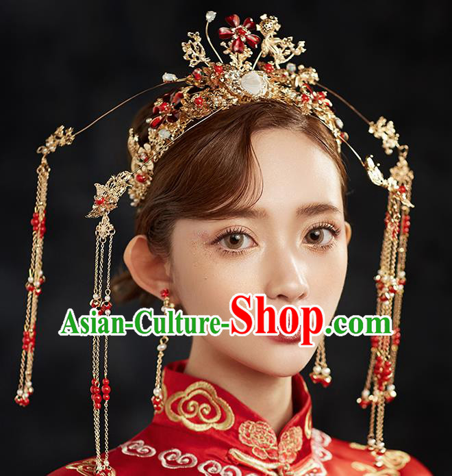 Chinese Ancient Hair Accessories Wedding Tassel Hairpins Traditional Phoenix Coronet for Women