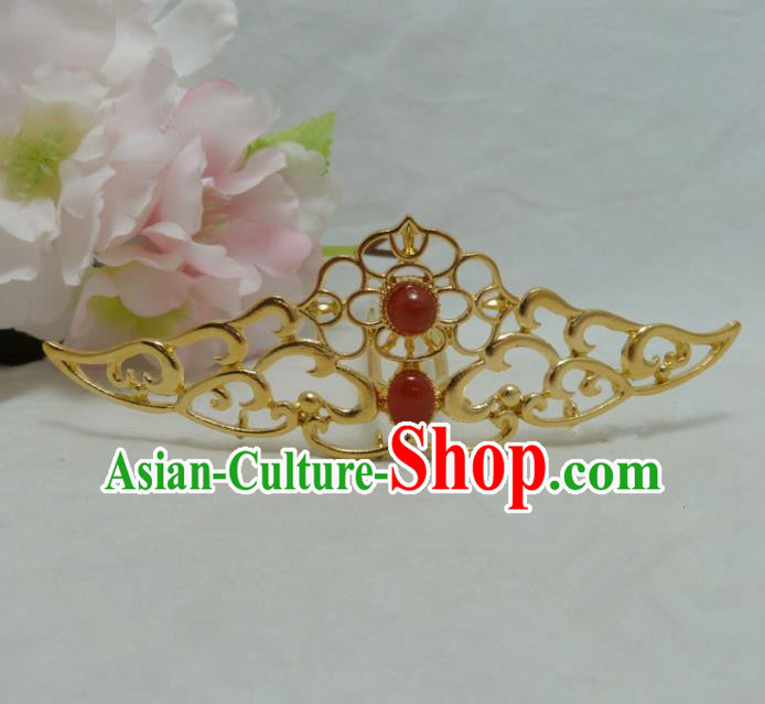 Chinese Ancient Palace Hair Accessories Golden Hairpins Traditional Xiuhe Suit Hair Clips for Women