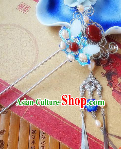 Chinese Ancient Wedding Hair Accessories Traditional Hanfu Blueing Pearls Hairpins for Women