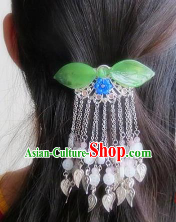 Chinese Ancient Princess Hair Accessories Traditional Hanfu Green Leaf Tassel Hair Comb Hairpins for Women