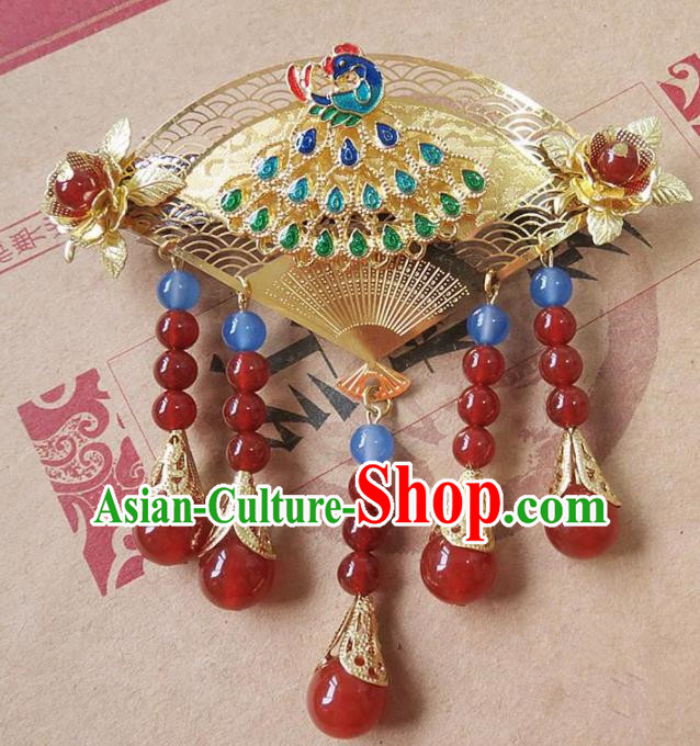 Chinese Ancient Princess Hair Accessories Traditional Hanfu Blueing Peacock Hair Claw Hairpins for Women