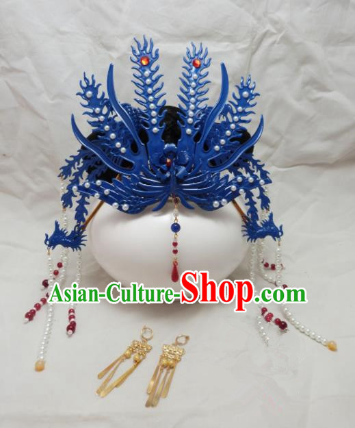 Chinese Ancient Hairpins Palace Queen Blue Phoenix Coronet Hair Accessories Traditional Hair Comb for Women