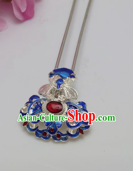 Chinese Ancient Qing Dynasty Queen Hair Accessories Traditional Palace Blueing Hairpins for Women