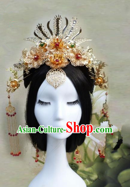Chinese Traditional Palace Golden Hairpins Ancient Han Dynasty Queen Phoenix Coronet Hair Accessories for Women