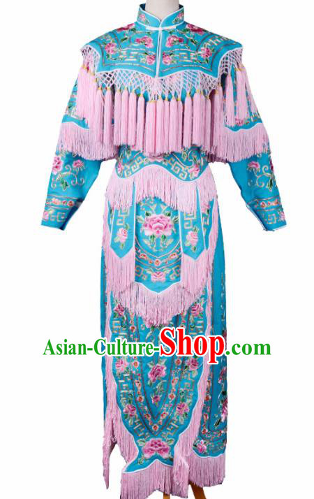 Professional Chinese Traditional Beijing Opera Magic Warriors Costume Peking Opera Blues Clothing for Adults