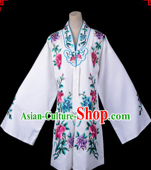Professional Chinese Traditional Beijing Opera Princess Costume Embroidered White Dress for Adults