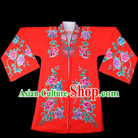 Professional Chinese Traditional Beijing Opera Princess Costume Embroidered Red Dress for Adults