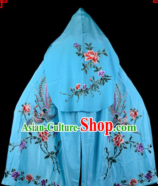Professional Chinese Traditional Beijing Opera Swordswomen Costume Embroidered Blue Cloak for Adults