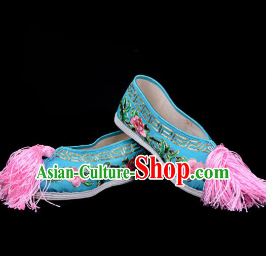 Professional Chinese Beijing Opera Diva Shoes Ancient Traditional Blue Embroidered Shoes for Women