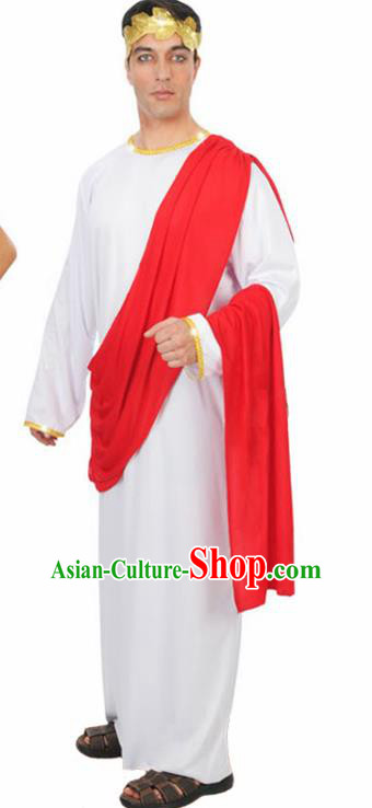 Traditional Roman Prince Costume Ancient Rome Senator White Clothing for Men