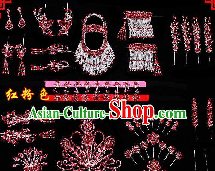 Chinese Beijing Opera Diva Hair Accessories Ancient Princess Red Hairpins Complete Set for Women