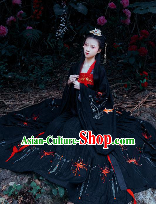 Chinese Traditional Tang Dynasty Replica Costume Ancient Palace Princess Black Dress for Women