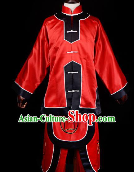 Professional Chinese Beijing Opera Takefu Costume Traditional Ancient Swordsman Red Clothing for Adults
