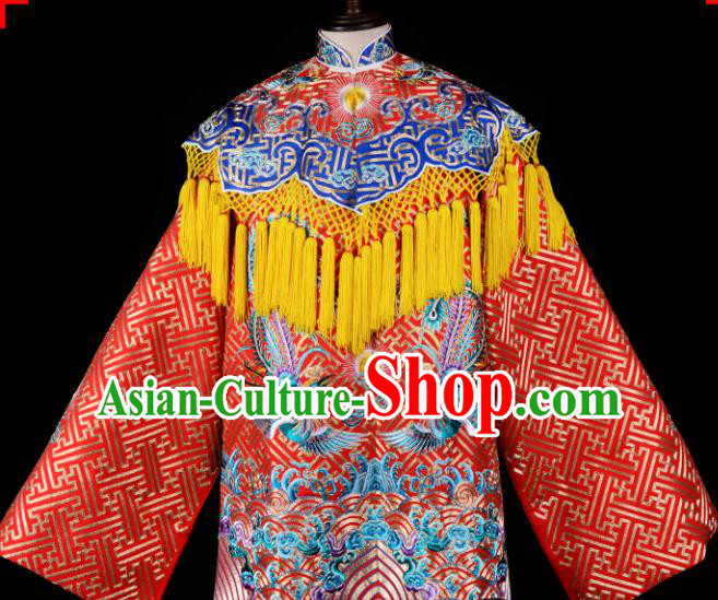 Professional Chinese Traditional Beijing Opera Costume Ancient Queen Embroidered Red Dress for Adults