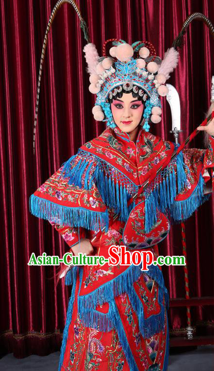 Professional Chinese Traditional Beijing Opera Magic Warriors Red Costume for Adults