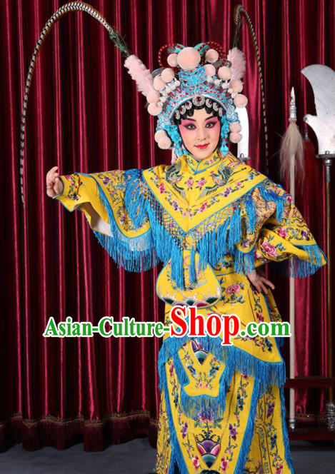 Professional Chinese Traditional Beijing Opera Magic Warriors Yellow Costume for Adults
