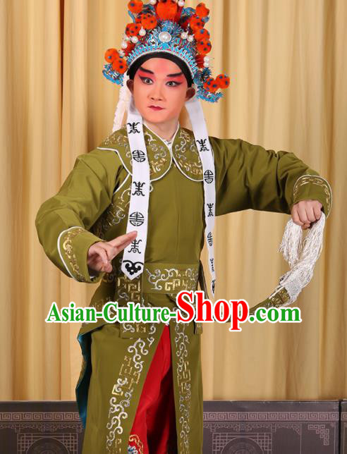 Professional Chinese Beijing Opera Takefu Costume Ancient Imperial Bodyguard Green Clothing for Adults