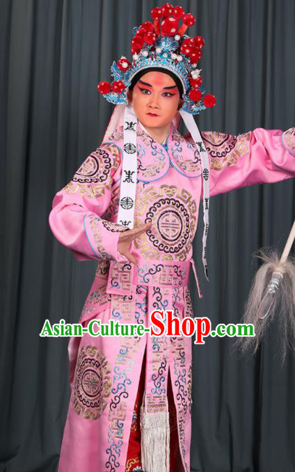 Professional Chinese Beijing Opera Takefu Costume Ancient Swordsman Pink Clothing for Adults