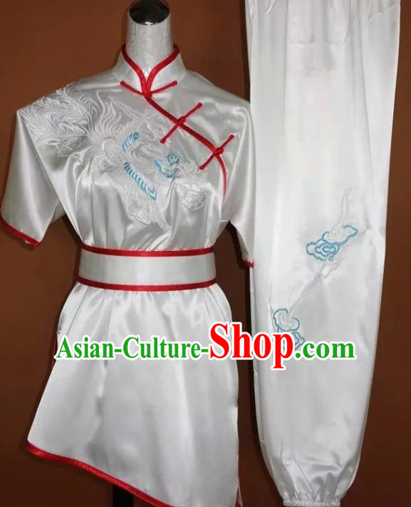 Chinese Traditional Tai Chi Embroidered Phoenix White Uniform Kung Fu Group Competition Costume for Women