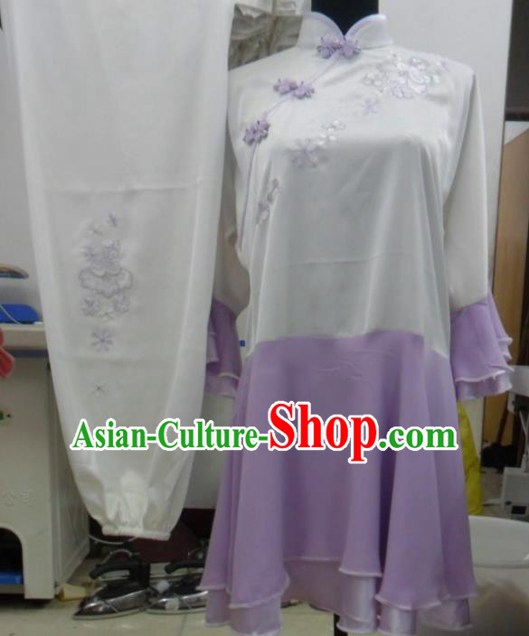 Chinese Traditional Tai Chi Embroidered Purple Uniform Kung Fu Group Competition Costume for Women