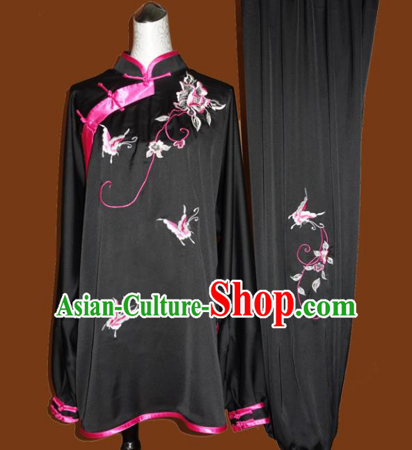 Chinese Traditional Tai Chi Embroidered Butterfly Black Uniform Kung Fu Group Competition Costume for Women