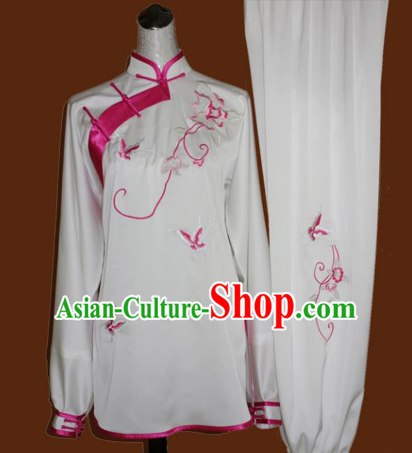 Chinese Traditional Tai Chi Embroidered Pink Butterfly Uniform Kung Fu Group Competition Costume for Women