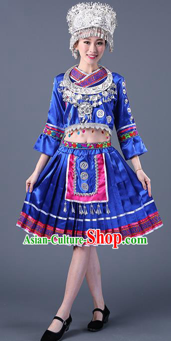 Chinese Traditional Ethnic Costume Miao Nationality Royalblue Pleated Skirt for Women