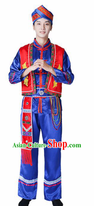 Chinese Traditional Ethnic Costume Miao Nationality Male Folk Dance Royalblue Clothing for Men