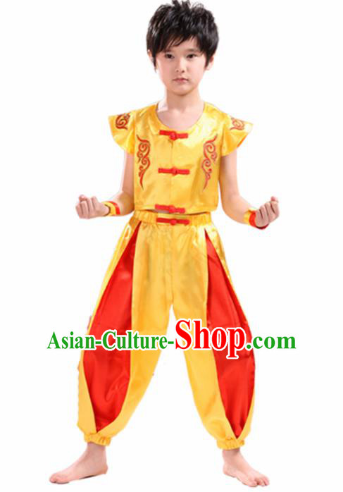 Chinese Traditional Dance Costume Folk Dance Drum Dance Yellow Clothing for Kids