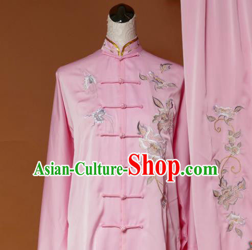 Chinese Traditional Tai Chi Training Embroidered Pink Silk Uniform Kung Fu Group Competition Costume for Women
