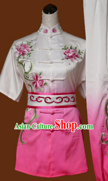 Chinese Traditional Tai Chi Training Embroidered Peony Pink Uniform Kung Fu Group Competition Costume for Women