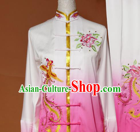 Chinese Traditional Tai Chi Embroidered Pink Silk Uniform Kung Fu Group Competition Costume for Women