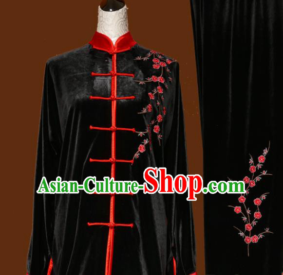 Chinese Traditional Tai Chi Embroidered Plum Blossom Black Uniform Kung Fu Group Competition Costume for Women