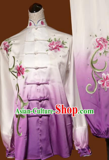 Chinese Traditional Tai Chi Embroidered Peony Purple Uniform Kung Fu Group Competition Costume for Women