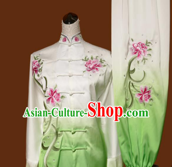 Chinese Traditional Tai Chi Embroidered Peony Green Uniform Kung Fu Group Competition Costume for Women
