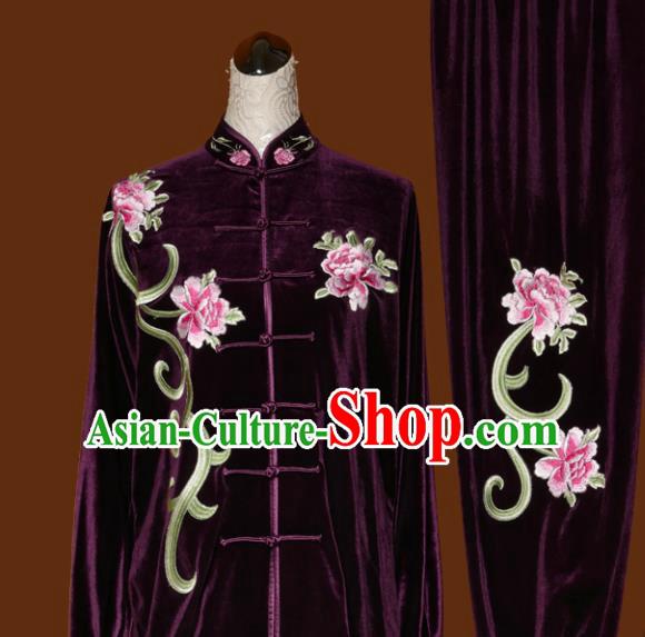 Chinese Traditional Tai Chi Embroidered Peony Purple Velvet Uniform Kung Fu Group Competition Costume for Women