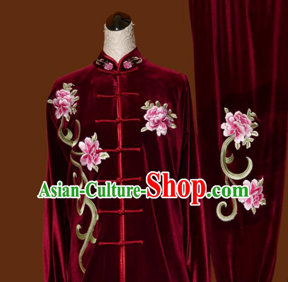 Chinese Traditional Tai Chi Embroidered Peony Red Velvet Uniform Kung Fu Group Competition Costume for Women