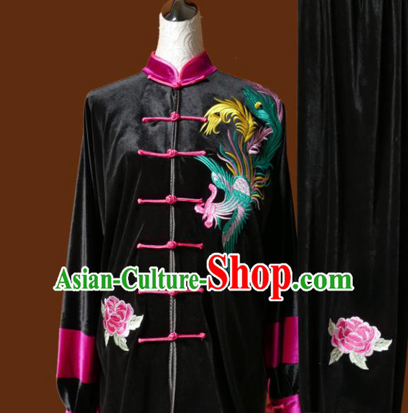 Chinese Traditional Tai Chi Embroidered Phoenix Black Velvet Uniform Kung Fu Group Competition Costume for Women