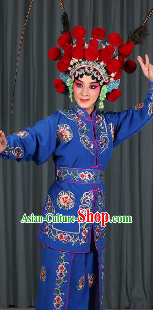 Professional Chinese Traditional Beijing Opera Blues Magic Warriors Royalblue Costume for Adults