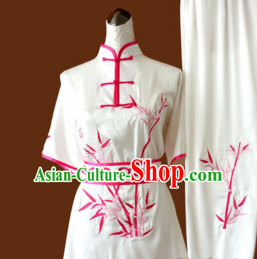 Chinese Traditional Tai Chi Uniform Kung Fu Group Competition Embroidered Bamboo Costume for Women
