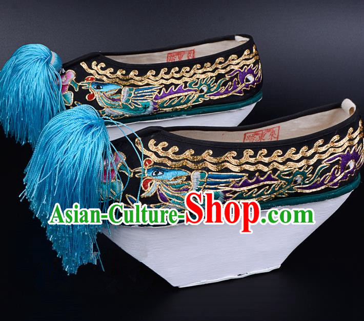 Professional Chinese Beijing Opera Shoes Ancient Qing Dynasty Princess Black Embroidered Shoes for Women