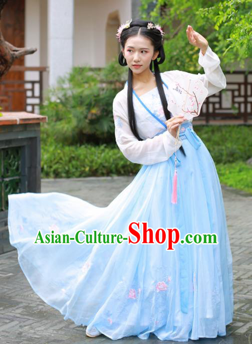 Chinese Ancient Peri Traditional Embroidered Hanfu Dress Tang Dynasty Princess Historical Costume for Women