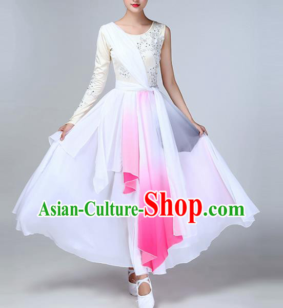 Chinese Traditional Stage Performance Umbrella Dance Costume Classical Dance White Dress for Women